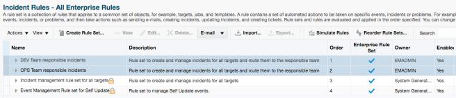 Incident Rule Sets