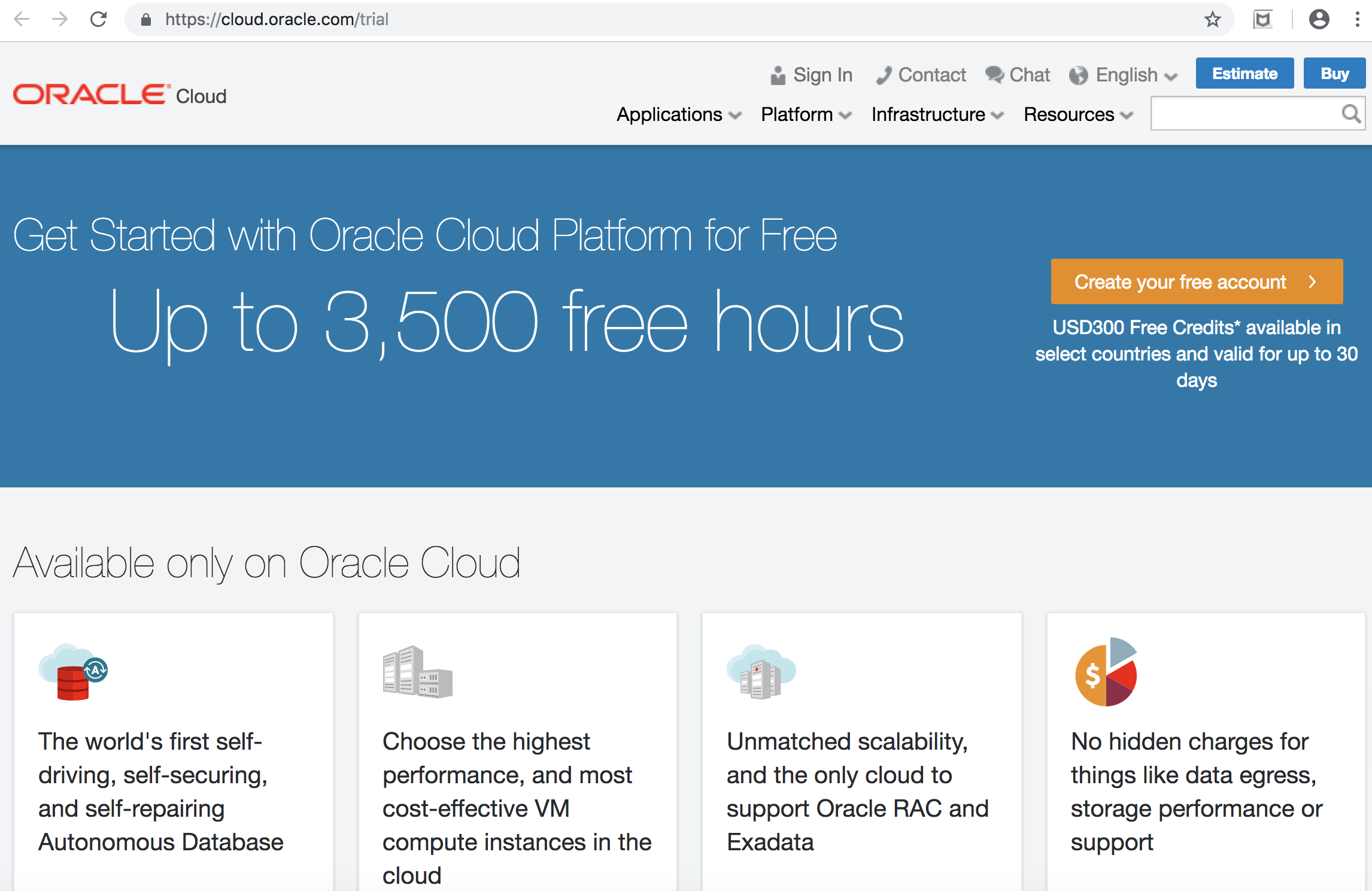 Signup to the Oracle Cloud